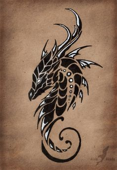 "The first of ""Moon dragons trio"" tattoo design set, the dragon of a Moonless sky.Black and white pen on a brown paper. Dragon of a Moonless sky Et Tattoo, Tattoo Drawings, Body Art Tattoos, Cool Tattoos, Tatoos, Trible Tattoos, Tiger Tattoo, Samoan Tattoo, Polynesian Tattoos"