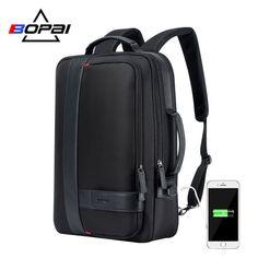 BOPAI Brand Enlarge Backpack USB External Charge 15.6 Inch Laptop Backpack  Shoulders Men Anti-theft 1a66af2005466