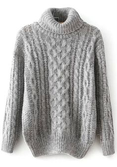 Shop Grey Long Sleeve High Neck Cable Sweater online. Sheinside offers Grey Long Sleeve High Neck Cable Sweater & more to fit your fashionable needs. Free Shipping Worldwide!