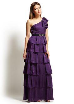 BCBG One Shoulder Tiered Gown