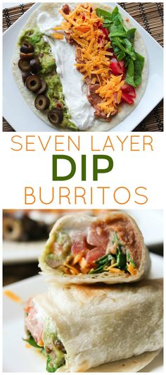 Burritos recipe - 7 Layer Dip Burritos from SixSistersStuff com Easy to make, healthy lunch recipes Kid Approved Main Dishes Mexican Food Recipes, Vegetarian Recipes, Cooking Recipes, Healthy Recipes, Kid Recipes, Burrito Recipes, Cooking Kids, Jello Recipes, Food Kids