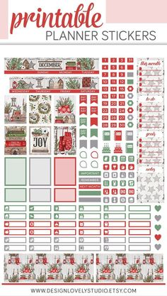 Decorate your Mini Happy Planner December monthly spread with this printable planner stickers kit from Design Lovely Studio! Handprinted seasonal elements will make your planner feel so festive! To Do Planner, College Planner, Mini Happy Planner, Passion Planner, Free Planner, Budget Planner, Planner Pages, Student Planner, Monthly Planner