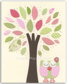 @MonicaRauman Baby girl nursery, Nursery wall art print, Baby girl room decor..baby owl..light pink light green match to the colors of Hayley pottery barn. $17.00, via Etsy.