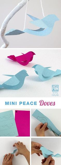 Arty Crafty Kids | Craft | Christmas Craft for Kids | Mini Peace Doves Ornaments #christmas #christmasornament #papercraft #freeprintable #kidscrafts