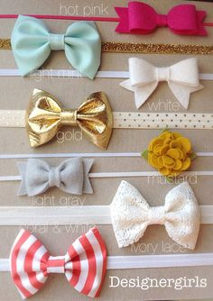 Ultimate headband package, baby girl bow headband, mint headband, gold headband to finish your look. Baby Girl Bows, Girls Bows, My Baby Girl, Baby Girls, Diy Headband, Baby Headbands, Bebe Love, Baby Bikini, Do It Yourself Inspiration