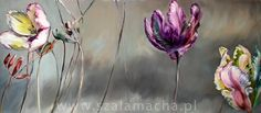 tulips oil painting art interior design purple grey