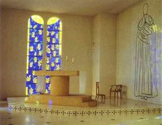 Chapelle du Rosaire de Vence (Chapel of the Rosary, Vence, France), architecture, ceramic-panel murals, stained glass, fittings and vestments by Matisse (1948-1951), photo by Gerry Cordon.