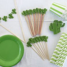 Cactus Party in a box contains 1 cake topper 1 Cactus felt Garland 10 paper plates 10 paper cups 10 cupcake toppers 25 paper straws 10 pencils party favors Worldwide shipping