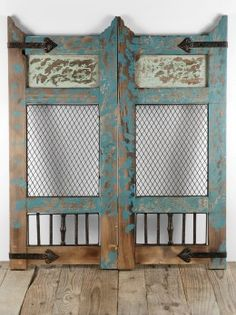 Distressed Wood Wall Décor Accent Panel Turquoise Would make cool swinging saloon doors for a kitchen! Cafe Door, Distressed Wood Wall, Saloon, Old Shutters, Swinging Doors, Save On Crafts, Wood Wall Decor, How To Distress Wood, Painted Furniture