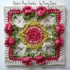 Dedri's Rose Garden Square – by Penny Davis Crochet Cable Stitch, Bobble Stitch, Linen Stitch, Crochet Circles, Crochet Squares, Crochet Granny, Granny Squares, Front Post Double Crochet, Half Double Crochet