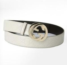 Gucci Gucci Off White Leather Belt