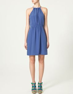 Blue Halter Pleated Blouson Cool Dress