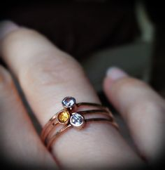 3 Hammered Birthstone Stack Rings with 14k Gold set Faceted Gemstones on Etsy, $89.00.. In rose gold..