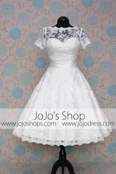 Retro 50s 60s Short Tea Length Modest Short Sleeves Lace Wedding Dress with Sash Tie