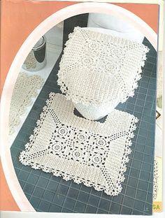 """""""Eventos e Coisas da Minha Casa"""" casa de banho crochê malha Branco UO set croche."""