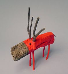 Neon Red Wooden Deer by CocoetPompon