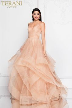 1c3fbb4d75c5 This Terani Couture Long Tulle Ball Gown features spaghetti straps with  trimmed glitter tulle. Available for Pre Order