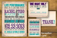 Printable, Concert Poster Wedding Invitation and Reply Card- Modern, Custom Design- The Rachel. $50.00, via Etsy.