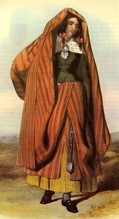 """Arisaid - it is is  the ladies' traditional Highland Dress.  The garment is described as """"made of sufficient length to reach from the neck to the ankles & being nicely plaited all round, fastened at the waist with a belt & secured on the breast by a large brooch."""" -"""