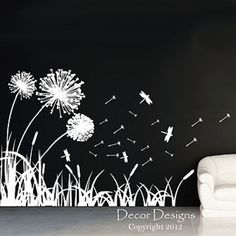 Dandelions Dragonflies and Cattails Vinyl Wall Decal Sticker Measures approximately wide by high. Available in the color of your choice! We now have 21 MATTE FINISH COLORS to choose from! Mural Wall Art, Wall Decal Sticker, Vinyl Wall Decals, Wall Stickers, Pallet Painting, Pallet Art, Chalk Wall, Painted Boards, Photo Wallpaper