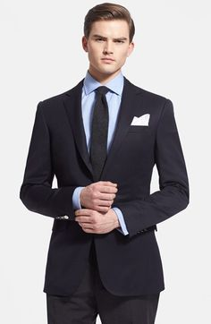 Ralph Lauren Black Label Trim Fit Navy Wool Sport Coat available at #Nordstrom