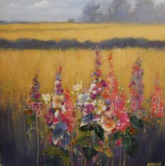 Warm Summer Day by Anna Perlin – available to buy online. Abstract Landscape, Landscape Paintings, Landscapes, Abstract Flowers, Pictures To Paint, Mixed Media Art, Summer Days, Collage Art, Warm