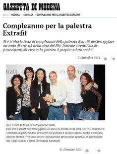 """""""Compleanno per la palestra Extrafit"""" (Gazzetta di Modena, 1 dicembre 2014)"""