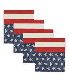 Look what I found on #zulily! Flag Stripe Jacquard Napkin - Set of Four #zulilyfinds