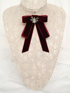 Your place to buy and sell all things handmade Velvet Bow Tie, Insect Jewelry, Birthday Favors, Burgundy Color, Boutique Shop, Office Fashion, Ribbon Bows, Mall, Online Shopping