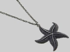 "Silver Plated Starfish Pendant Necklace 22"" Long Plus Size Island Beach Sea Life #CrystalAvenue #Pendant"