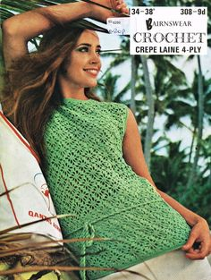 vintage ladies summer top tunic  crochet summer by EnglishCrochet