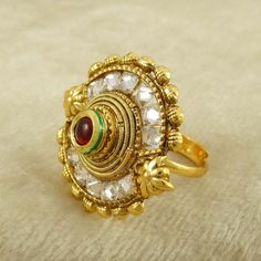 Indian Beautiful 18K Gold plated #Bridal Wedding Adjustable Ring Women #Jewelry