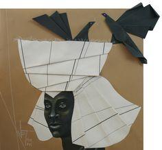Vania Elettra Tam - Origami colombe - cigogna - 2016 - 40x40 cm cm - tecnica mista