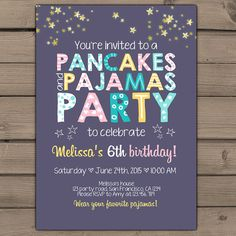 Pancakes and Pajamas Party Invitation Pancakes Pajamas Birthday invite Girl party Purple pink teal yellow photo Digital Printable ANY AGE