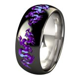 Liung Titanium Ring customized with black diamond finish and shifting purple anodized color accents in dragons carvings. Our shifting purple reflects the light and gives away shifting pink and blue hues. Mesmerizing !