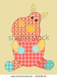 Children's application. Hippopotamus. Patchwork series. Vector illustration.