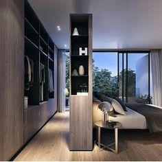 #Diseñointerior. Imnovador concepto para el #closet donde #vestier y #habitacion se separan por medio de modulo que funciona como fondo de cama y mueble separador. Ve mas #ideas para #remodelar...