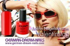 Jolifin ColorTech Nagellack sweet red - Unsere Kracher zum Valentinstag: http://www.german-dream-nails.com #jolifin #nagellack #nageldesign #valentine