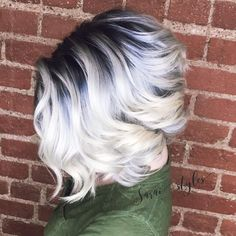 """Gorgeous color and bob by @sarai_styles__""""I may be in love with this smoky, metallic shadow root and platinum blonde. I used @guy_tang…"""
