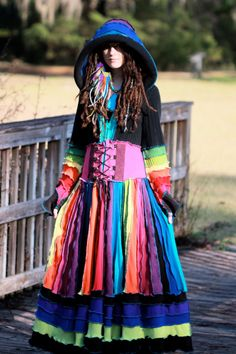 SuperDuperUbberAwesome Custom corset  Kaleidoscope gypsy dream traveling upcycled patchwork ragamuffin elf pixie rave recycled sweater coat