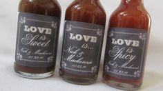 Love is... Sweet, Tasty, Sexy, Spicy Chalkboard - Wedding Save the Date Rehearsal Dinner ~ set of 12 Personalized BBQ or Hot Sauce favors