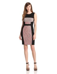 Yoana Baraschi Womens Murano Baby Tweed Body Dress, Coral/Black, 2.  check discount today! click picture on top
