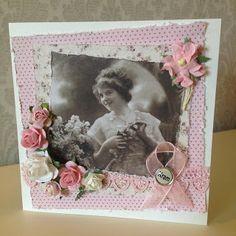 Randis hobbyverden: Vintage kort med rosa bandet