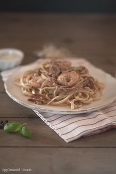 Fettuccine with shrimp, dried tomatoes and basil  Applewood House