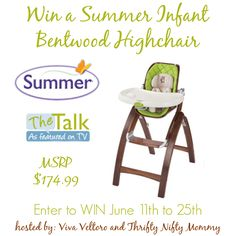 Summer Infant Bentwood Highchair Giveaway | Parenting Patch: Enter to win one (1) Summer Infant Bentwood Highchair. Open to legal residents of the continental United States of America. Ends on June 25, 2014.