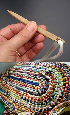Crochet Rag Rug Toothbrush Woven Rug Non Skid Backing