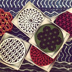 Handmade laser cut felt coasters now available at the Atelier.