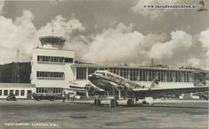 PJ-AL? at Hato airport, Curaçao. KLM Douglas DC-3/C-47 postcard