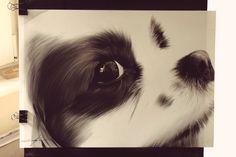 Cute Puppy Spaniel Oil Painting Portrait