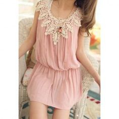 Scoop Neckline Casual Fashion Style and Lace Pleated Openwork Sleeveless Polyester Dress For Women